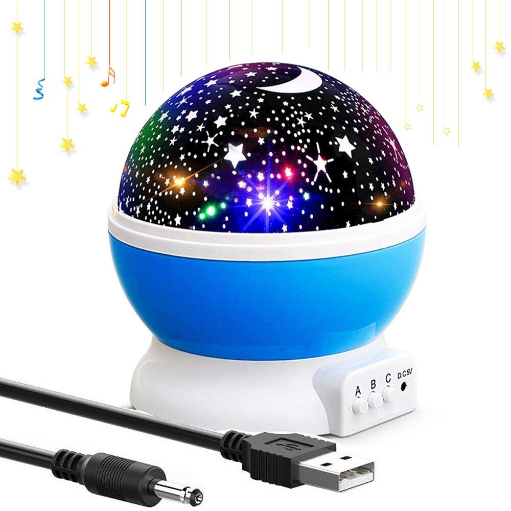 LED rotatif veilleuse ciel étoilé projecteur lune lampe support batterie USB veilleuse pour enfants cadeaux