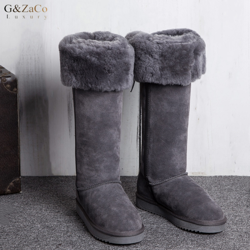 G Zaco Luxury New Winter Natural Sheepskin Boots Knee high Snow Boots Genuine Leather Tube Bow