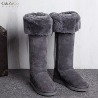 G&Zaco Luxury New Winter Natural Sheepskin Boots Knee high Snow Boots Genuine Leather Tube Bow Warm Wool Sheep Fur Long Boots