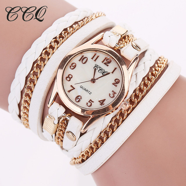 Dropshipping Women Gold Chain Leather Bracelet Watch Fashion Casual Wrist Watch