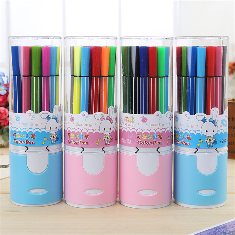 18Colors Crayon Watercolor Pen Lovely Animal Rabbit Can Water Wash Oil Painting Stick Student School Supply Art Supplies Brushes
