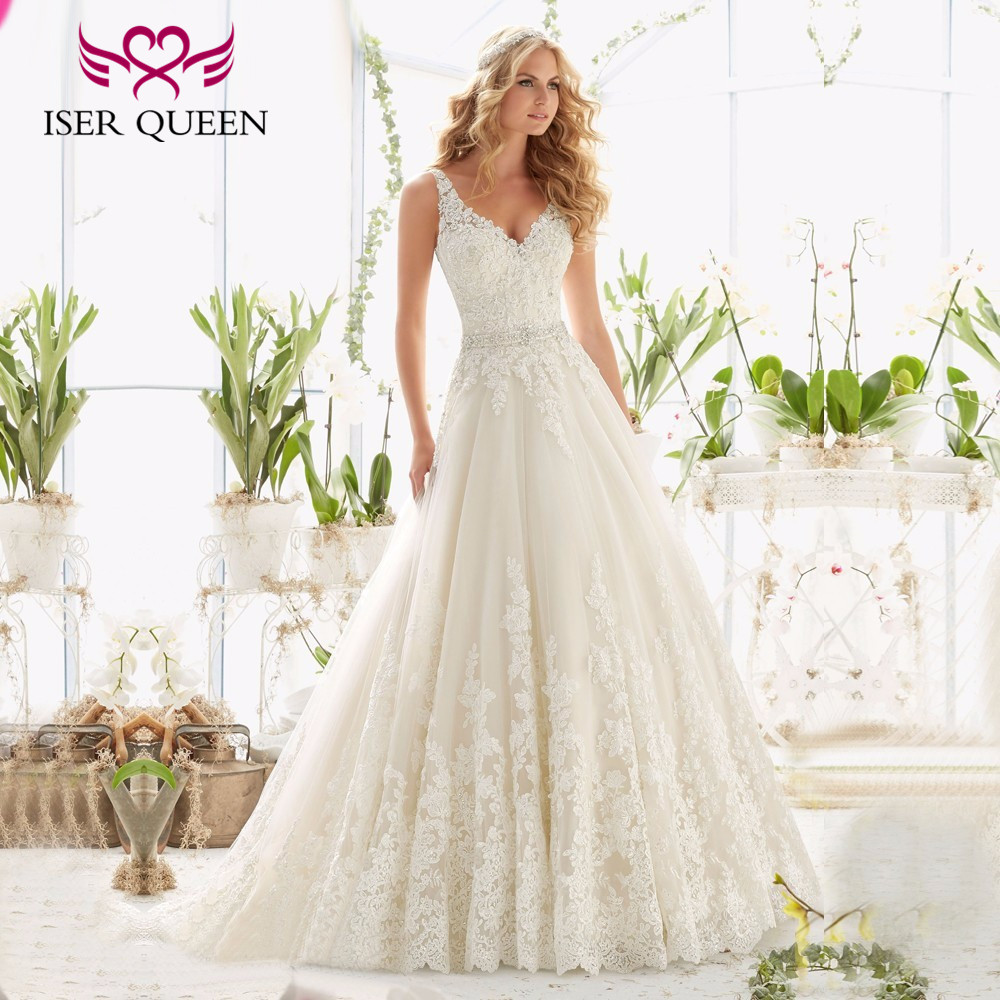 Backless White Color V neck Europe Fashion A line Wedding Dress 2019 Sleeveless Custom Made Crystal
