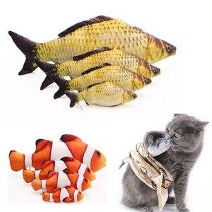 1 pçs engraçado forma de peixe gato brinquedo gatinho simulação de peixes brinquedos bonito interativo fantasia animais de estimação dentes moagem catnip travesseiro boneca