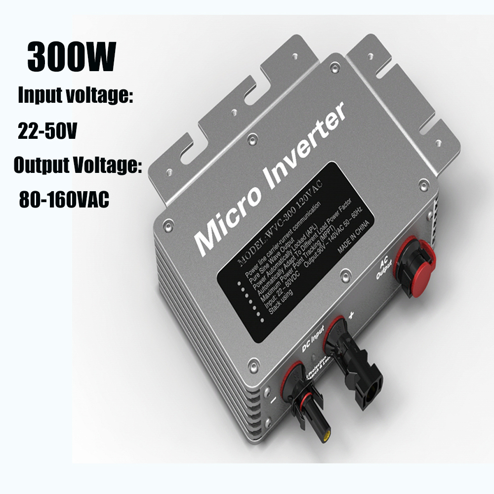 300W Pure Sine Wave Power Micro Inverter 22-50V AC Input 120V AC Output IP65 with High Performance Maximum Power Point Tracking solar micro inverters ip65 waterproof dc22 50v input to ac output 80 160v 180 260v 300w