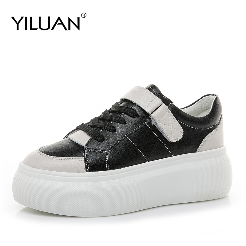 Yiluan Leather white shoes 2019 autumn new Korean version muffin sneakers women summer students platform casual shoes Yiluan Leather white shoes 2019 autumn new Korean version muffin sneakers women summer students platform casual shoes