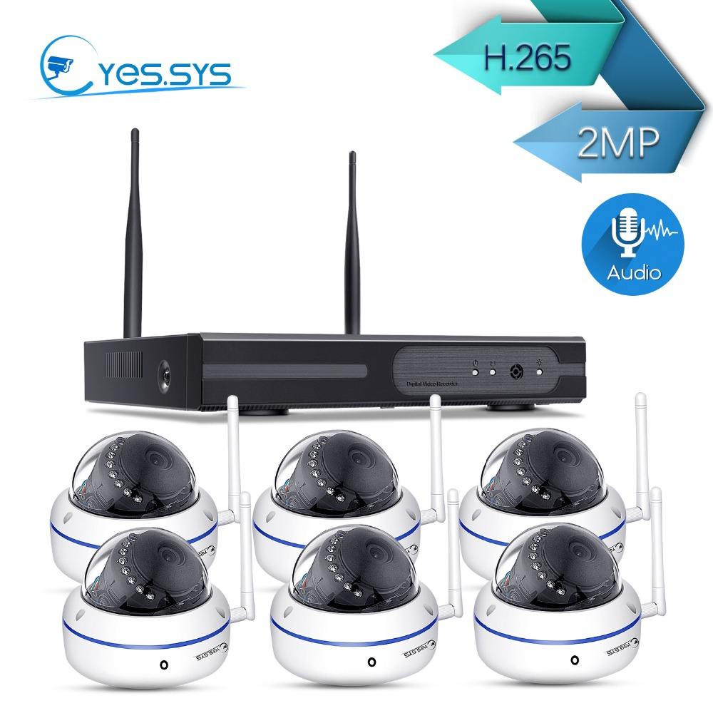 eyes.sys 6*1080P Dome IP Camera with microphone+8CH 1080P Wireless NVR Wifi CCTV Camera System Audio Security Surveillance Kit