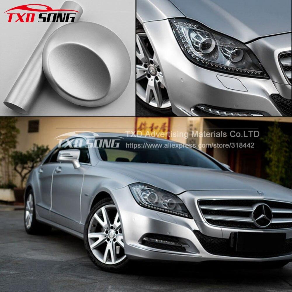 Премиум матовая атласная Chrome Silver автомобиля винила Плёнки Стикеры наклейка Bubble бесплатно Car Styling Размеры: 1.52x20 м/roll по Бесплатная доставка