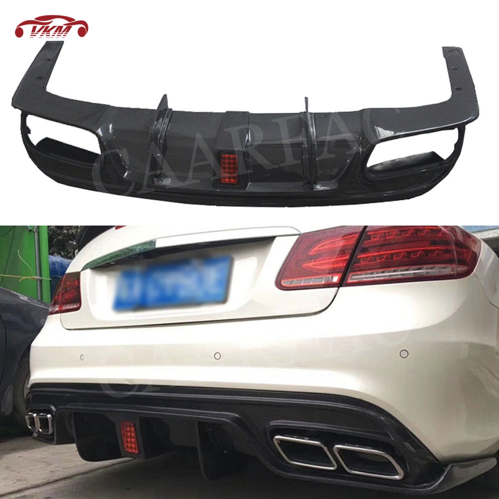 With LED Light Carbon Fiber Rear Lip Diffuser for <font><b>Mercedes</b></font> Benz W207 C207 <font><b>Coupe</b></font> E200 E260 <font><b>E300</b></font> 2 Door 2014 - 2016 Bumper Guard image