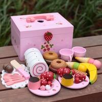 צעצועי תינוק תות עוגת סימולציה / ערכת תה אחר הצהריים לחתוך משחק צעצועי עץ העמד פנים שחק מטבח מזון ילד מתנת יום הולדת