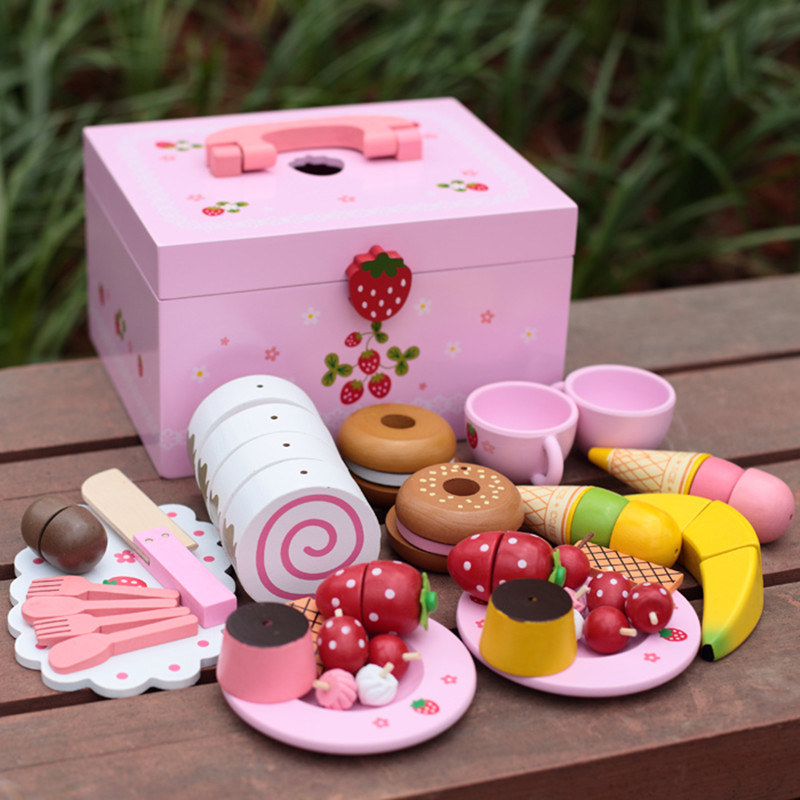 Baby Toys Strawberry Simulation Cake/Afternoon Tea Set Cut Game Pretend Play Kitchen Food Wooden Toys Child Birthday Gift