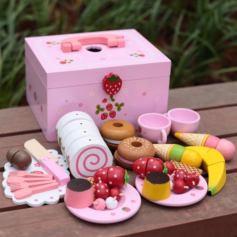 Juguetes para bebés, pastel de imitación de fresa/juego de té de la tarde, juego de corte, juego de cocina, alimentos, juguetes de madera, regalo de cumpleaños para niños