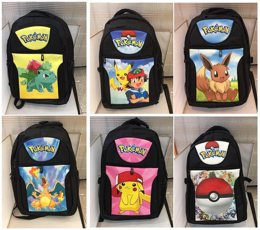 Japan anime Pokemon go Pikachu Pocket Monster backpack Cartoon canvas Shoulder Bag schoolbag backpack 6 style  japan pokemon harajuku cartoon backpack pocket monsters pikachu 3d yellow cosplay schoolbags mochila school book bag with ears