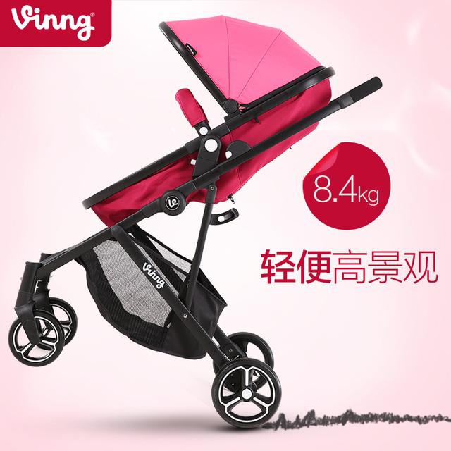 Carrinho de bebê de alta paisagem carrinho de bebê luz carrinho de bebê pode ser um two-way botão para tirar um carro pode ser dobrado