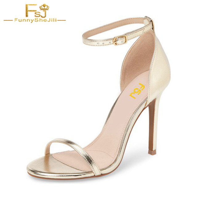b96e07a8762 Woman Shoes Golden Ankle Strap Sandals 3 Inch Open Toe Stiletto Heels  Sandals Solid Fashion Office Career Buckle Size 11 10 FSJ