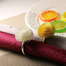 12PCS creative pine flower napkin buckle model room ring circle cloth gold / silver