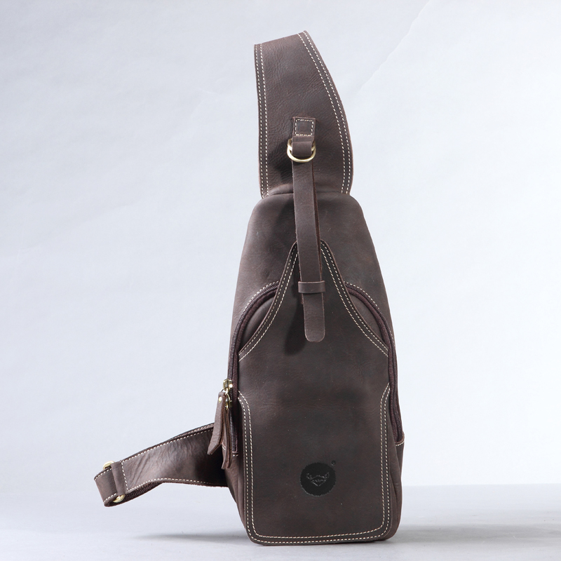 Hot-selling crazy horse leather chest pack messenger bag vintage travel bag man and women bosom bag genuine leather #0211 famous brand men chest bags theftproof open fashion leather travel crossbody bag man messenger bag crazy horse leather bag chest