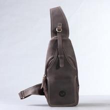 Hot-selling crazy horse leather chest pack messenger bag vintage travel  bag man and women bosom bag genuine leather  #0211
