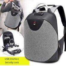 Hacmpoehue No Key Anti Theft Lock Backpack Male Travel College Bookbag Waterproof Laptop Backpack USB Charging Leisure Backpack