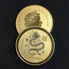 100 Stks Niet Magnetische Australische Chinese Zodiac Dragon animal badge 24 K real vergulde 34mm Elizabeth collectible Munt