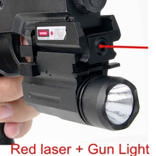 2 in 1 Combo Tactical Red Laser Sight Scope + X100 LED Flashlight Hunting Rifle Pistol 20MM Rail Glock 17 19 22 23 Airsoft Gun pistol 5mw green laser sight scope with led flashlight combo for hunting shooting