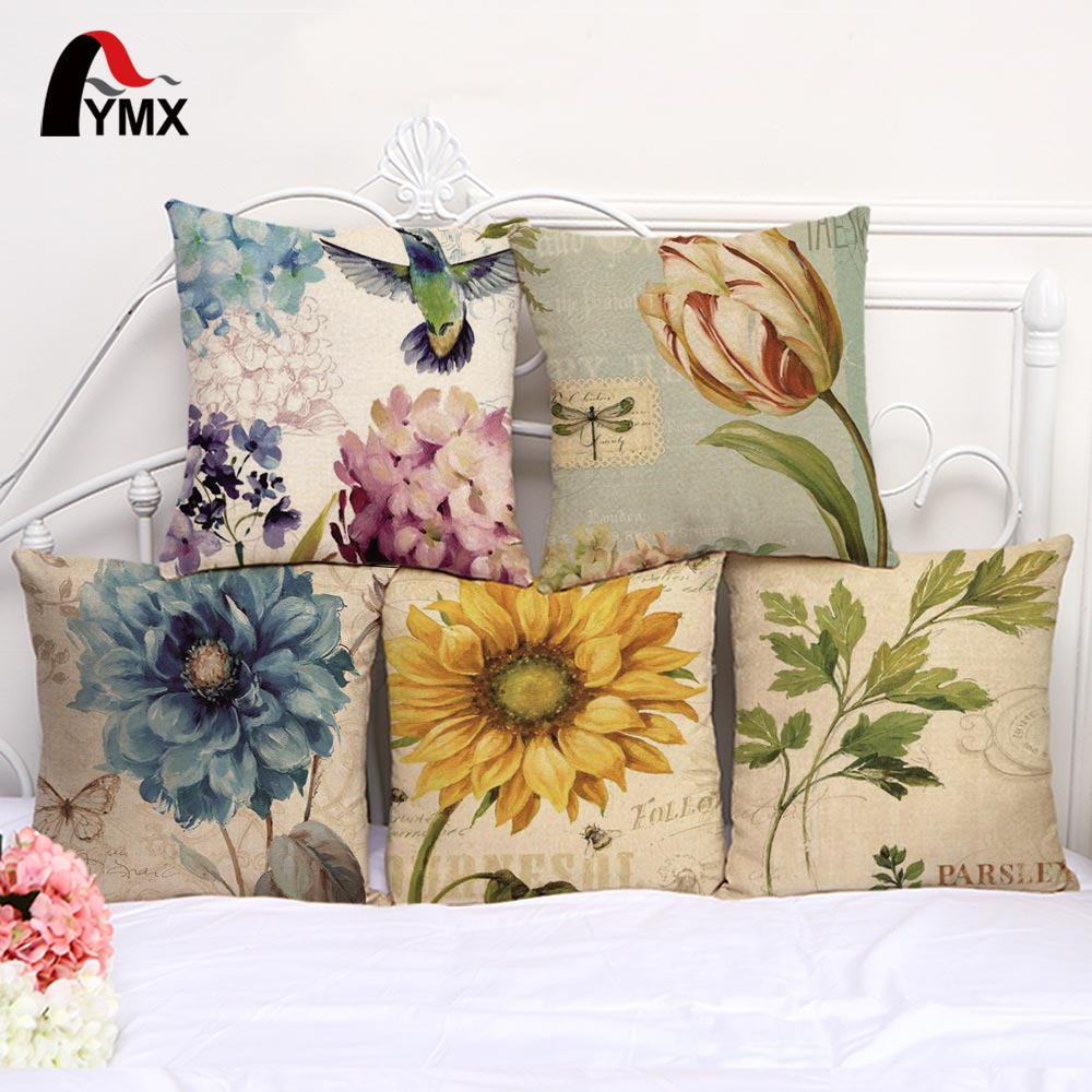 Retro Sunflower Flower Cotton and Linen Sofa Pillow Car Casees Waist Pad Cover Without Pillow Cushion Cover Wholesale 2017