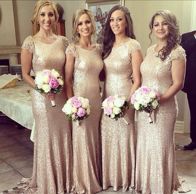 2015 New Christmas Bridesmaid Dresses Gold Sequins Cap Sleeve Crew Neckline Fit And Flare Maid Of