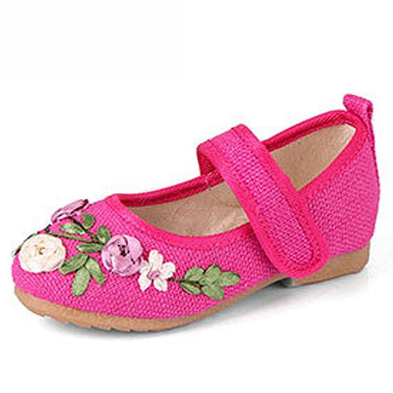 Filles chaussures fleur broderie enfants chaussures chinois tissu traditionnel enfants chaussures princesse chaussures de danse 100459