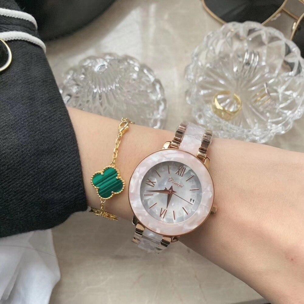 Montres en résine florale blanche élégante pour femmes mode robe d'affaires montres de haute qualité Bracelet en plastique montre-Bracelet calendrier