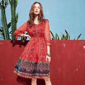 661f18385ca ARTKA 2019 летнее женское шифоновое платье с лепестковыми рукавами с  цветочным принтом красное платье модное тонкое приталенное ТРАПЕЦИЕВИДНО.