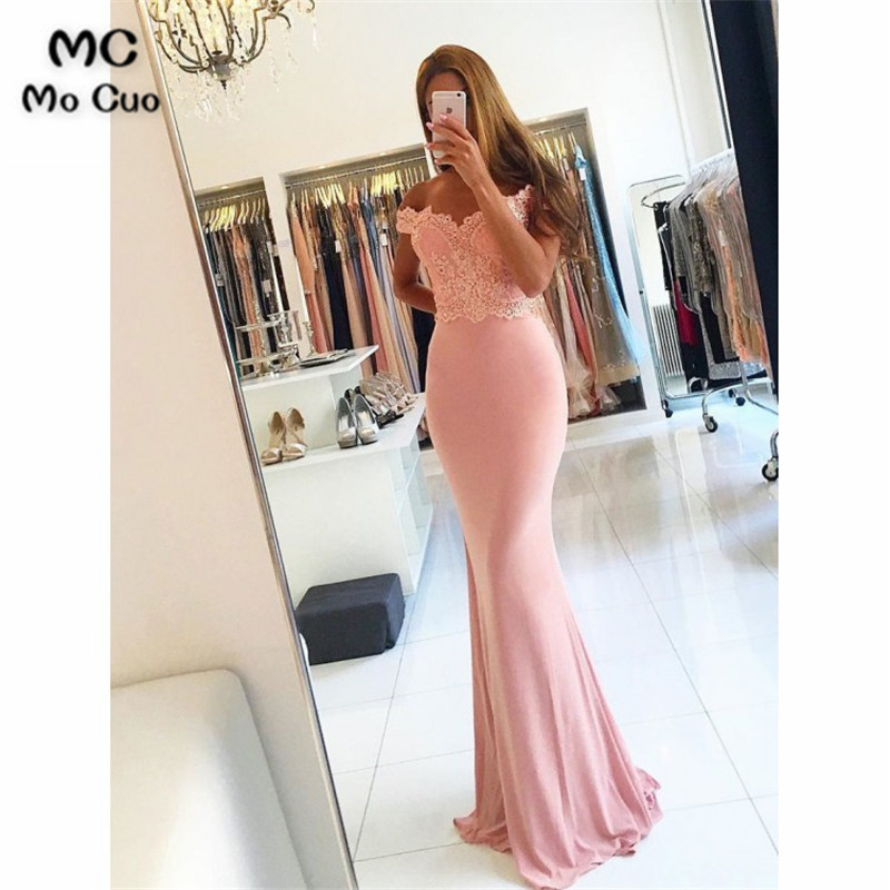 2019 Blush Pink Mermaid   Bridesmaid     Dress   with Appliques V-Neck Wedding Party   Dress   Elastic Satin Women   Bridesmaid     Dresses