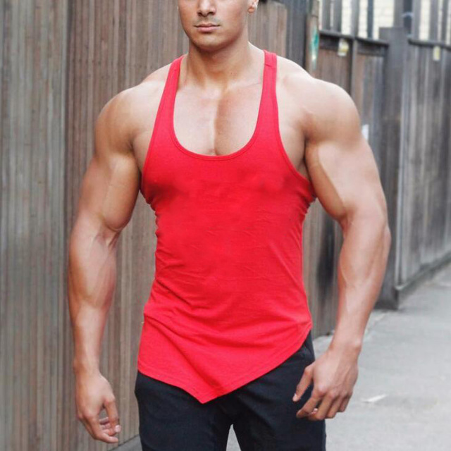 Brand Solid Color Clothing Gyms tank top men Fitness Sleeveless Shirt Cotton blank Muscle vest Bodybuilding Stringer Tanktop 1