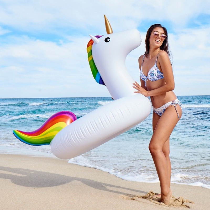 Giant Inflatable Pink Flamingo White Unicorn Pool Floats Swimming Beach Party Ring Medium size