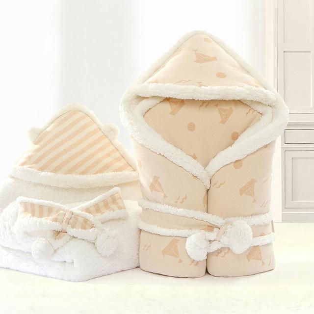 Nueva Envolvente de Algodón Orgánico Bebé Recién Nacido Del Bebé Swaddles Mantas de Invierno de Cordero Caliente Gruesa ropa de Cama Infantil Mantenga Envuelve 80x80 cm AB111