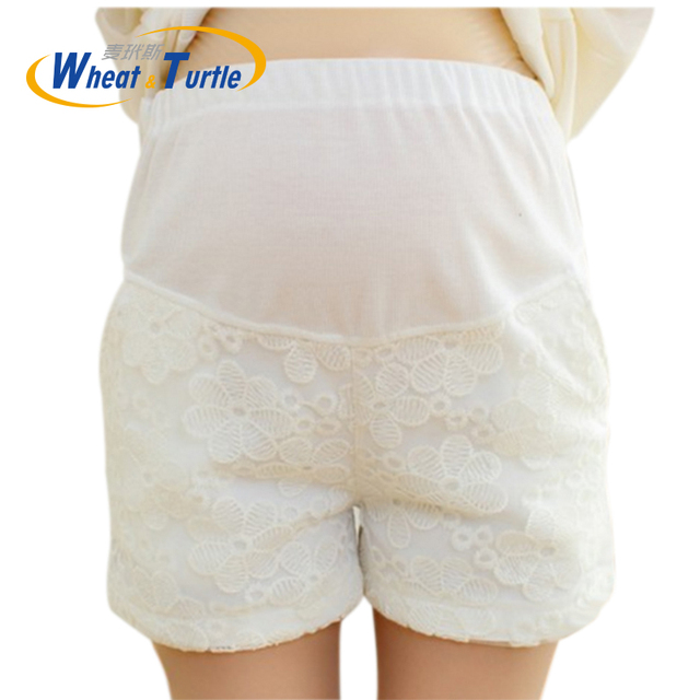 Hot Sale 2016 Summer New Arrival Fashion Maternity Cotton Shorts Pants Lace Hollow Out Flower Decorated Hot Pants For Pregnant