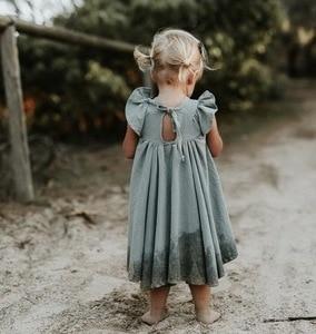 Image 5 - Vestido de verano para niñas, bonito vestido infantil con manga acampanada y volantes, color blanco y verde, E19074