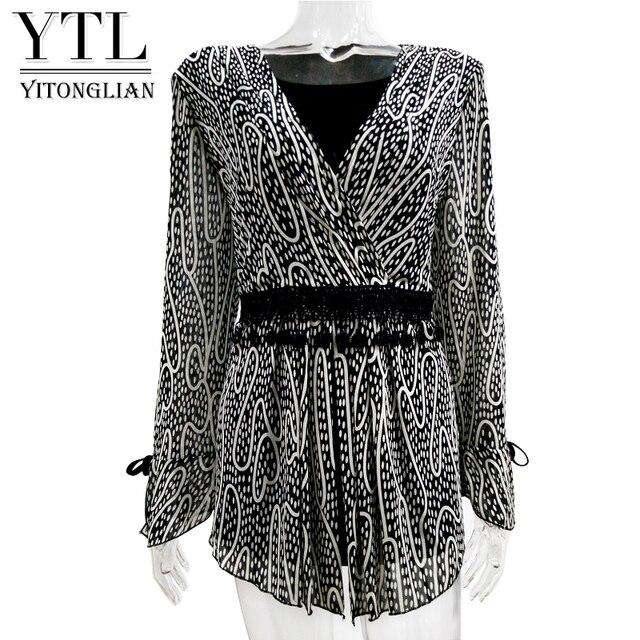 Yitonglian Women Clothing Fashion Elegant Wrap Top Flare Sleeve Slim Print Plus Size Cardigan Female Tunic Blouse Shirt 7XL 8XL