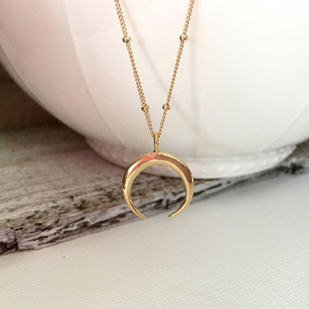 9b9fadade5a Hot Eenvoudige kolye bead chain hanger Ketting Gebogen crescent moon ketting  Goud Zilver vrouwen Ketting dames