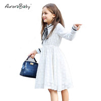 AuroraBaby Brand girls white princess dress children's cute long sleeve ribbon lace dresses for Spring Summer size 6 16yrs