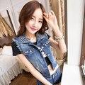 2016 nuevas mujeres de la moda de la calle personalizada algodón rivet vintage agujero chaleco de mezclilla azul jean chaleco outwear g246