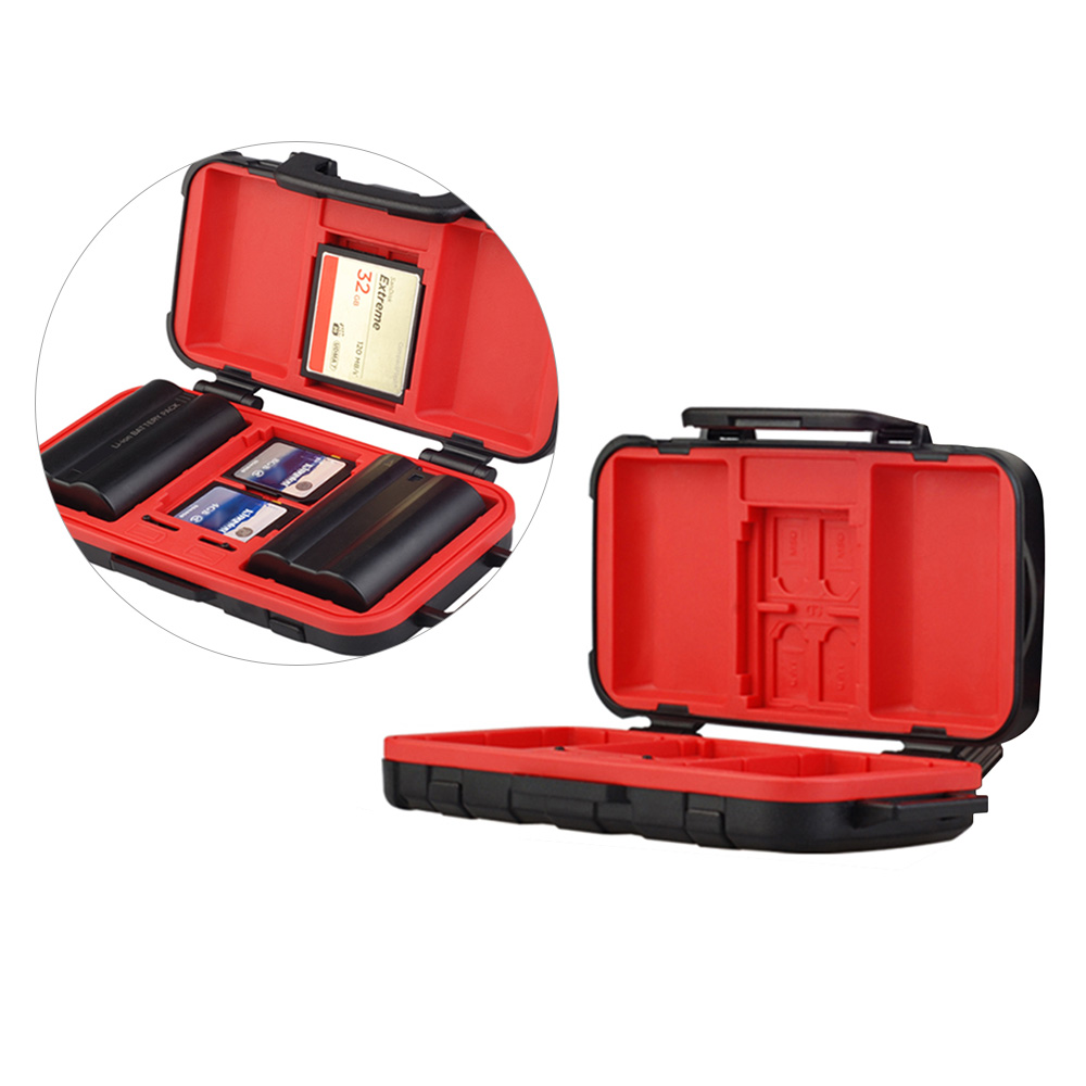 US $11 12 40% OFF LENSGO D850 Memory Card Case Battery Storage Box for 2  Camera Batteries 4 SD Cards 8 TF Cards 2 CF/XQD Card for NP FW50 /NP  W126-in