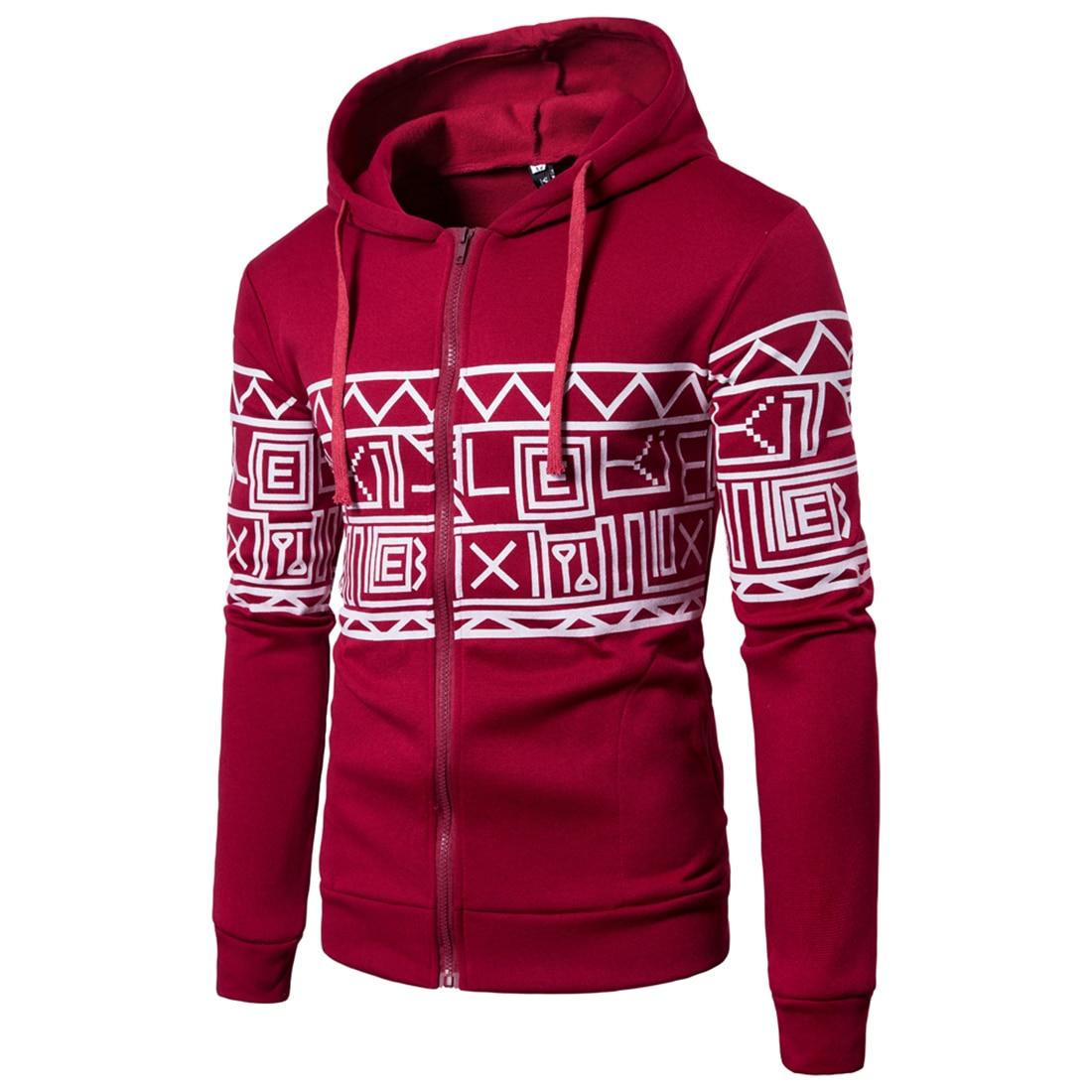 Mens Winter Hoodie Male Coat 2017 Warm Jacket Streetwear Geometry Print Hoodies Zipper Sweatshirt Zipper Sportswear HipHop Home