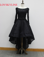 Vestido נשף אמיתית אלגנטי רקמת קו 2018 תחרה שחורה תמונת שמלת הערב סירת צוואר שרוול ארוך תחרה עד ערב שמלת