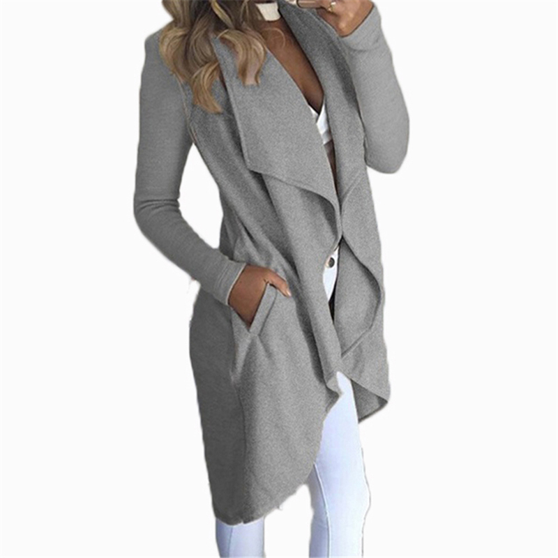 S-4XL Winter Windbreaker Casual Large Size Women Overcoat Turn-down Collar Cardigan Autumn   Trench   Big Size Female OuterwearJ843