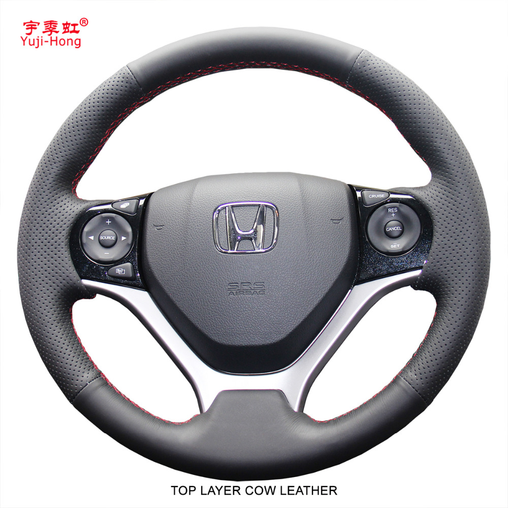 Yuji Hong Top Layer Genuine Cow Leather Car Steering Wheel Covers Case for Honda Civic 9