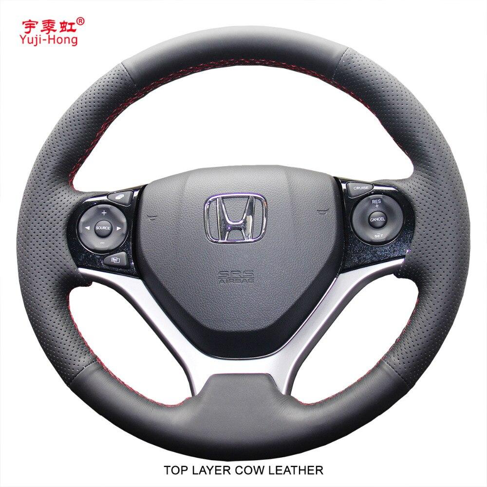 Yuji-Hong Haut Couche Véritable Vache En Cuir De Volant de Voiture Couvre Cas pour Honda Civic 9 Jade 2013- 2016 cousu Main Couverture