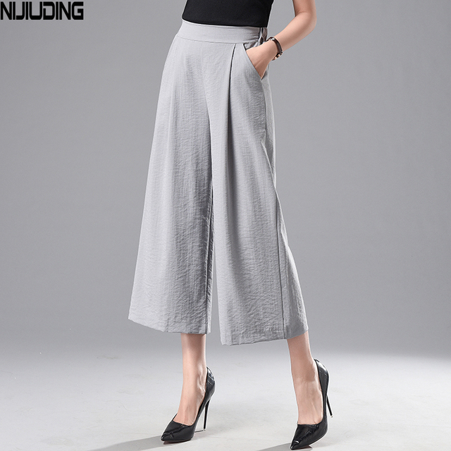 b5d389a31902 NIJIUDING 2018 Spring Summer Cotton Linen Wide Leg Pants Women Solid High  Waist Loose Wide Range Leg Pants Black White Trousers