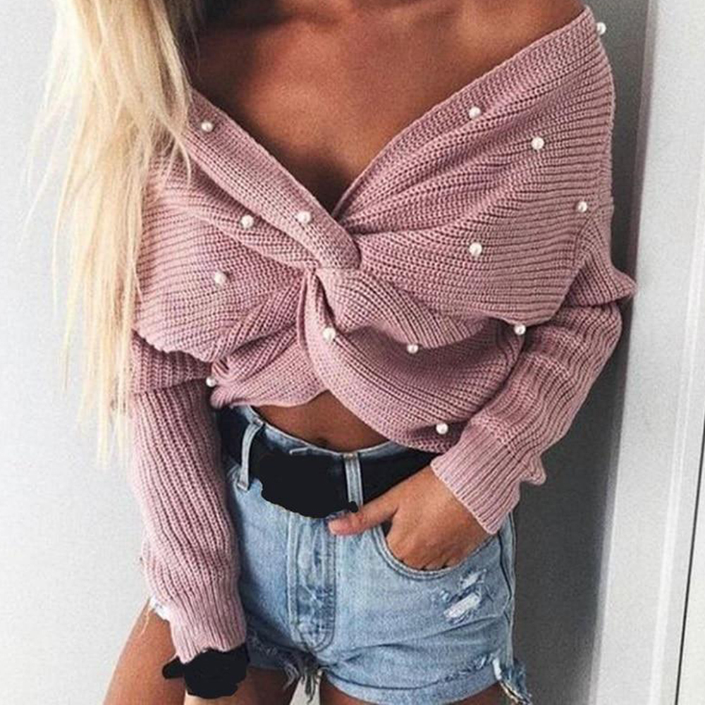 SFIT Sexy Criss Cross Backless V Neck Knitted Women Sweater Batwing Sleeve 2020 Autumn Winter Casual Loose Pullover Jumper