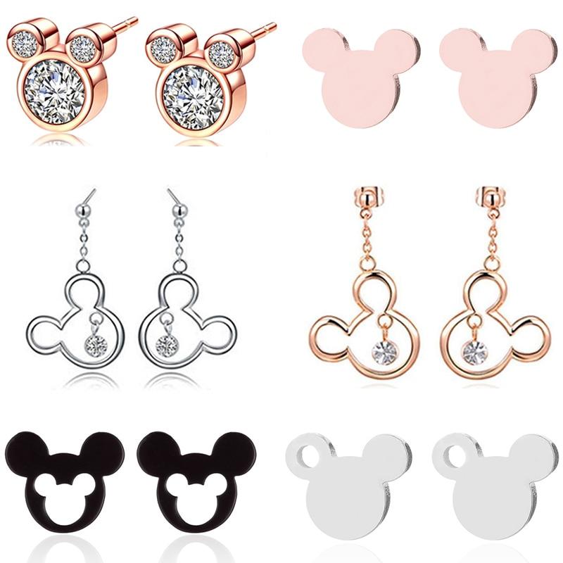Us 0 68 39 Off Oly2u Mickey Earring Women Mouse Crystal Earrings Gold Stainless Steel Stud Cute Kids Ear Studs Brincos In