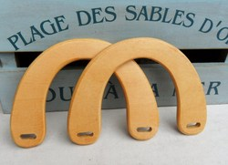 Forma de U con tamaño 15*10,5 cm DIY bolsa colgador accesorios monedero manija del marco elegancia moda hecha a mano DIY naturaleza asa de madera para bolsa