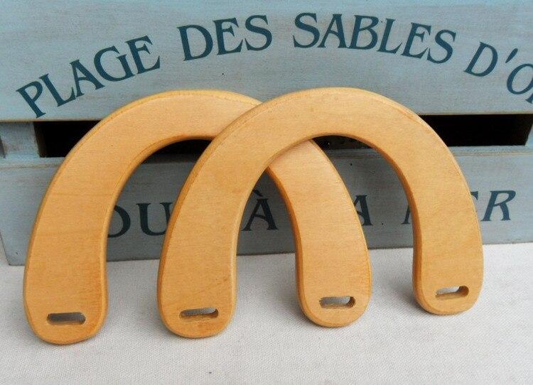 U forme avec taille 15*10.5 cm bricolage sac cintre accessoires sac à main cadre poignée élégance mode fait à la main bricolage Nature sac en bois poignée